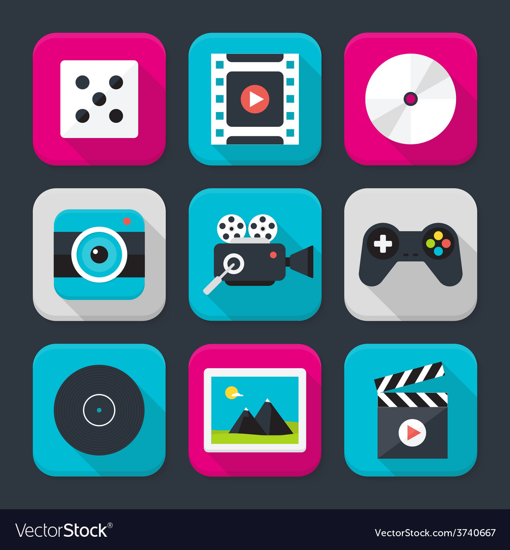 Multimedia audio and video themed squared app icon vector | Price: 1 Credit (USD $1)