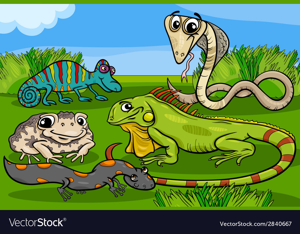 Reptiles and amphibians group cartoon vector | Price: 3 Credit (USD $3)