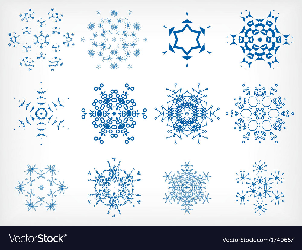 Set of isolated snowflakes for christmas decor vector | Price: 1 Credit (USD $1)