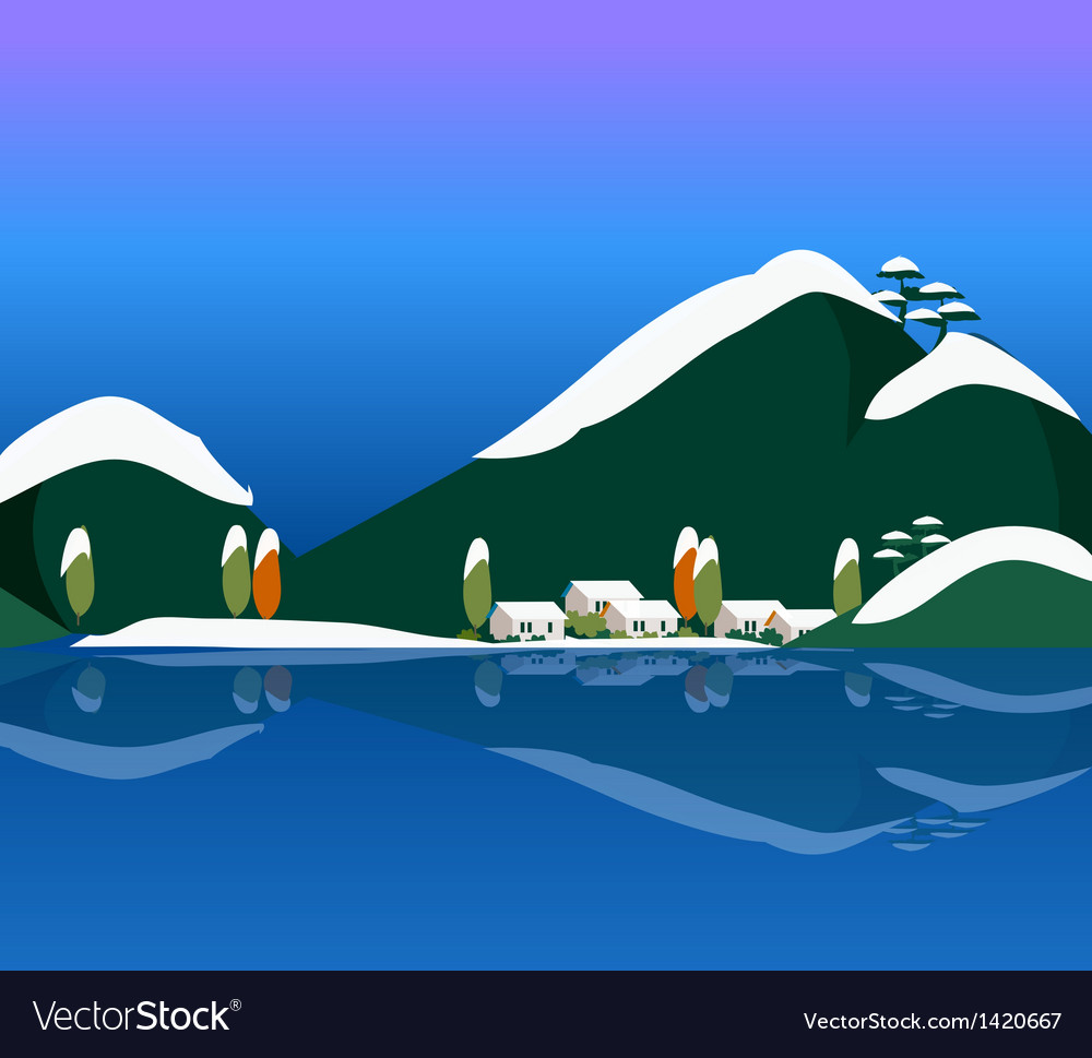 Snowy winter scene in the countryside vector | Price: 1 Credit (USD $1)