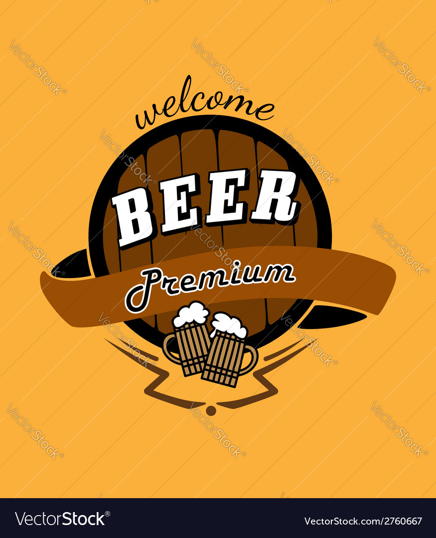 Tankard beer and barrel emblem vector | Price: 1 Credit (USD $1)