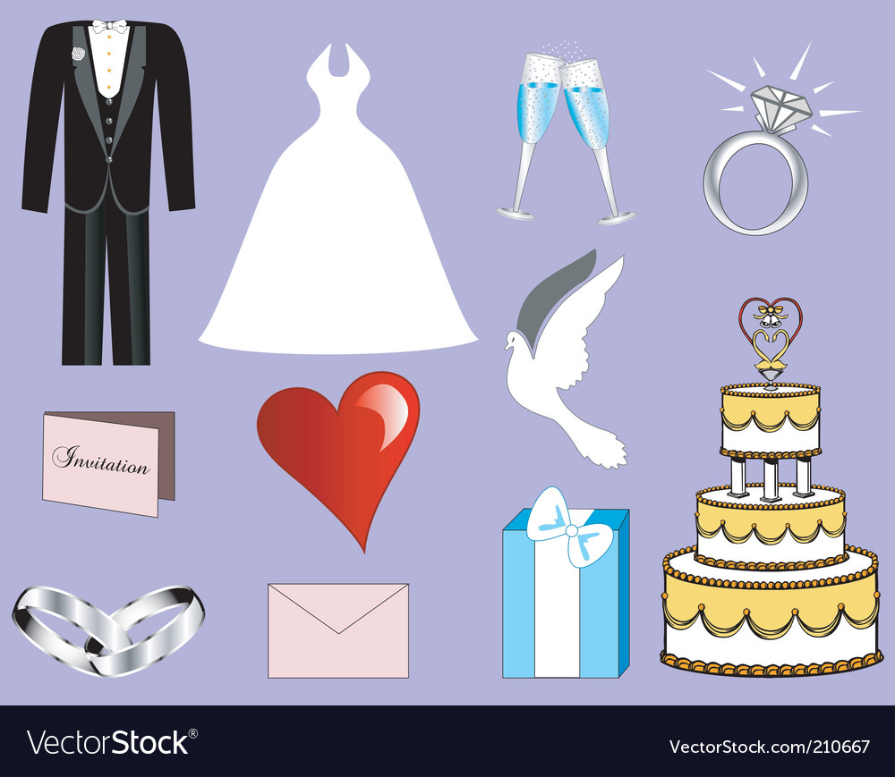 Wedding button icons vector | Price: 1 Credit (USD $1)