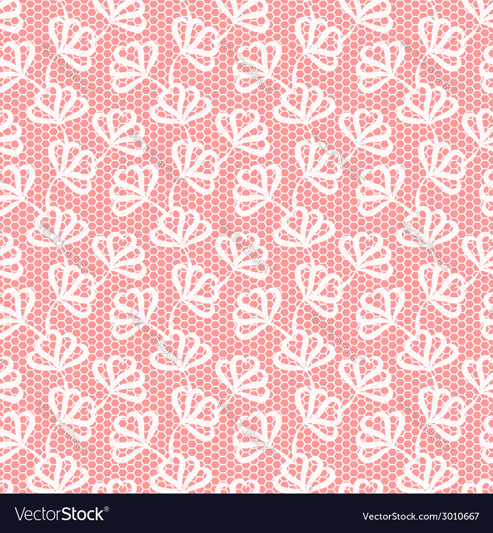 White seamless floral pattern on pink background vector | Price: 1 Credit (USD $1)