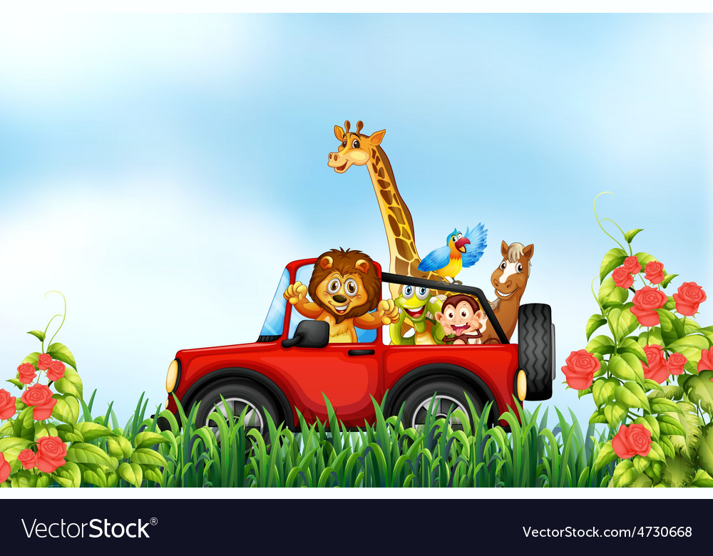 Animals and car vector | Price: 5 Credit (USD $5)