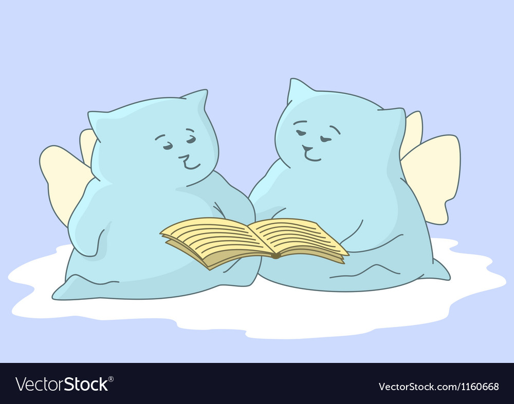 Cartoon animals angels read book vector | Price: 1 Credit (USD $1)