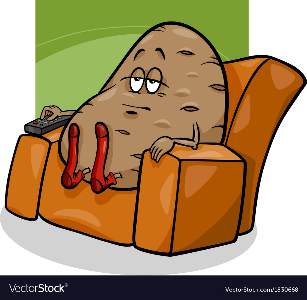 Couch potato saying cartoon vector | Price: 1 Credit (USD $1)