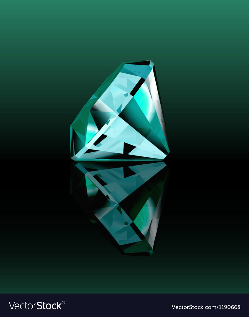 Cyan diamond with reflection vector | Price: 1 Credit (USD $1)