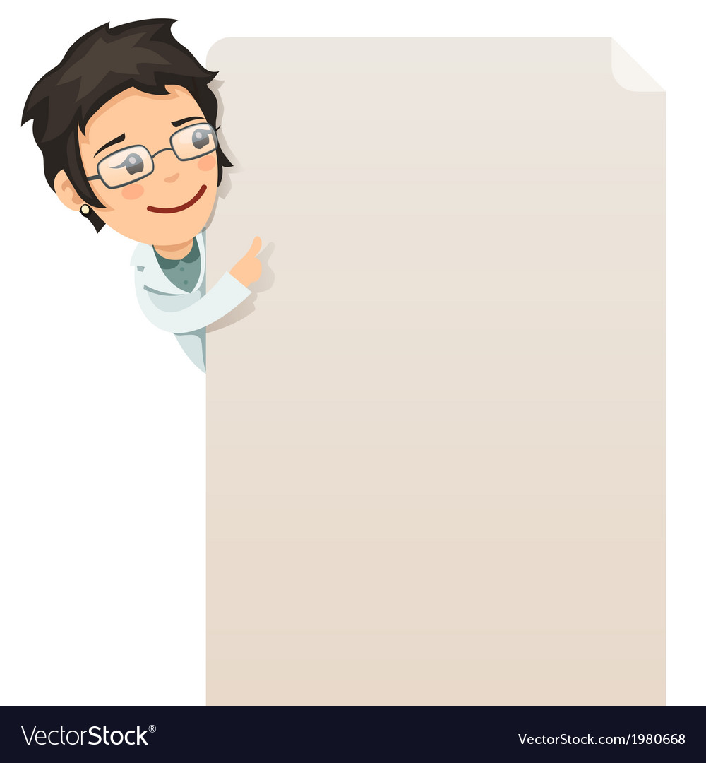 Female doctor looking at blank poster vector | Price: 1 Credit (USD $1)
