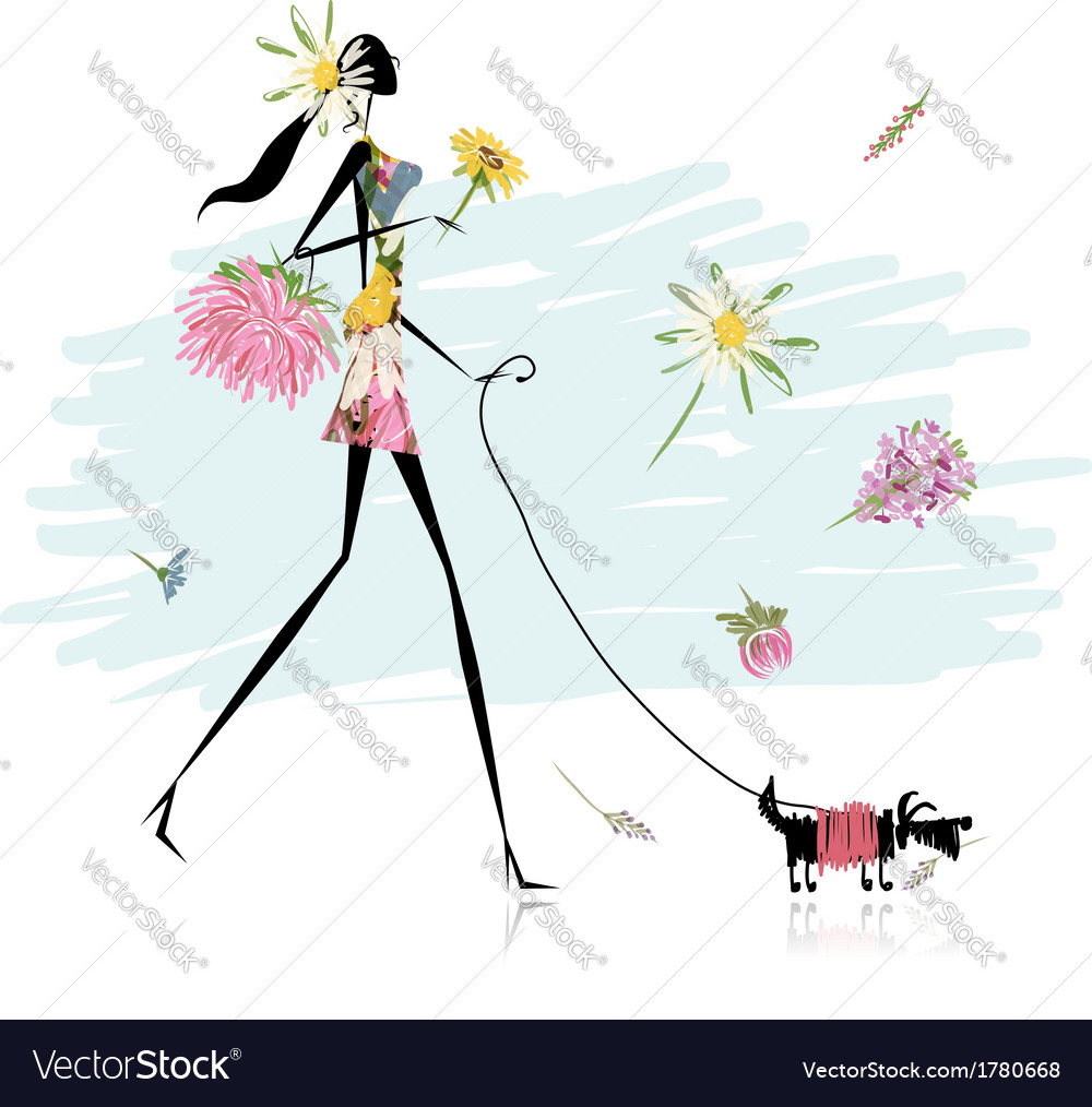 Floral girl walking with dog vector | Price: 1 Credit (USD $1)