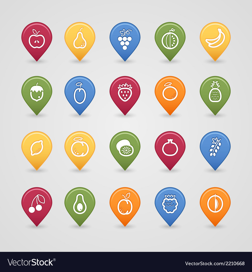 Fruits mapping pins icons vector | Price: 1 Credit (USD $1)