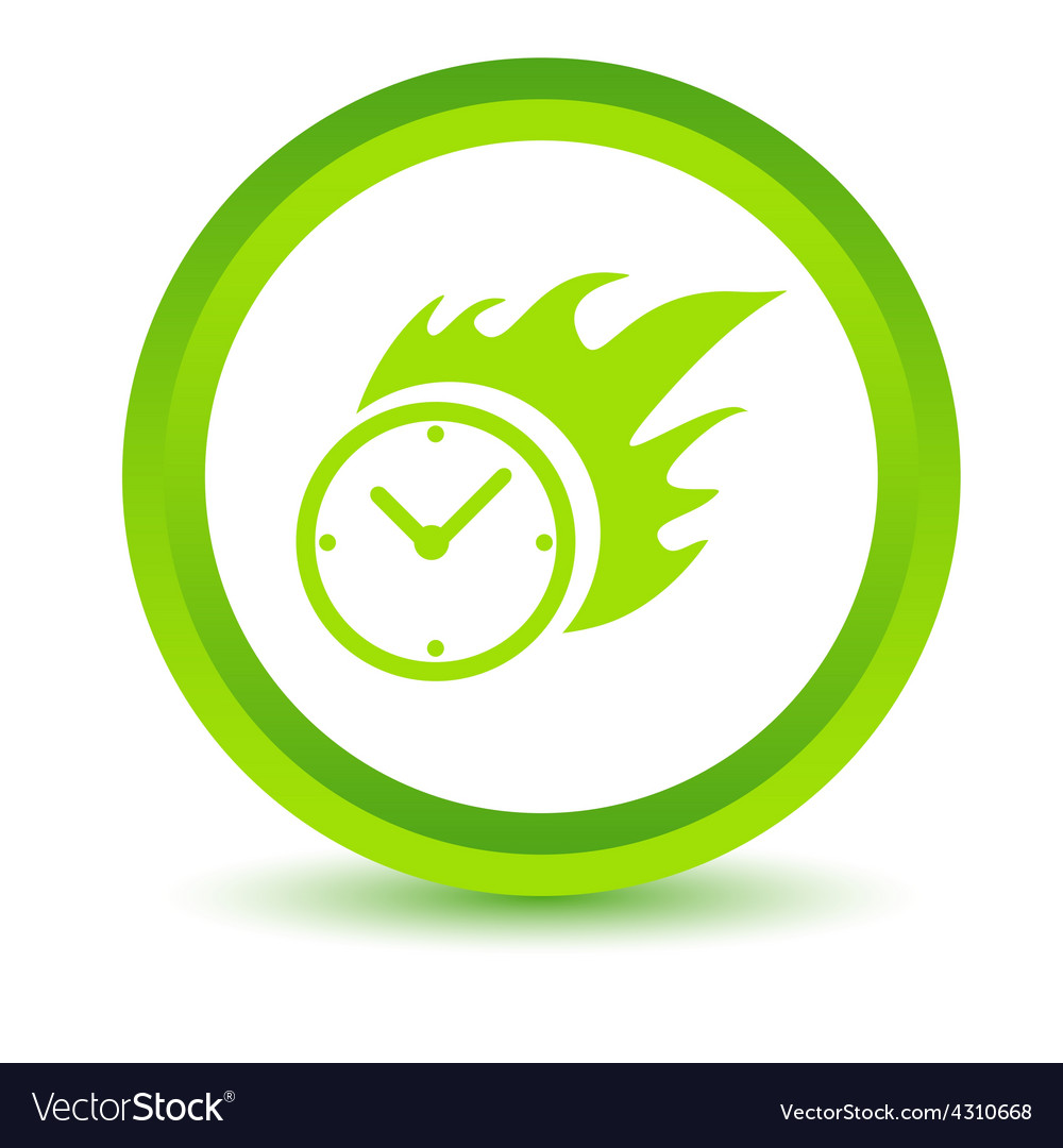 Green hot clock icon vector | Price: 1 Credit (USD $1)