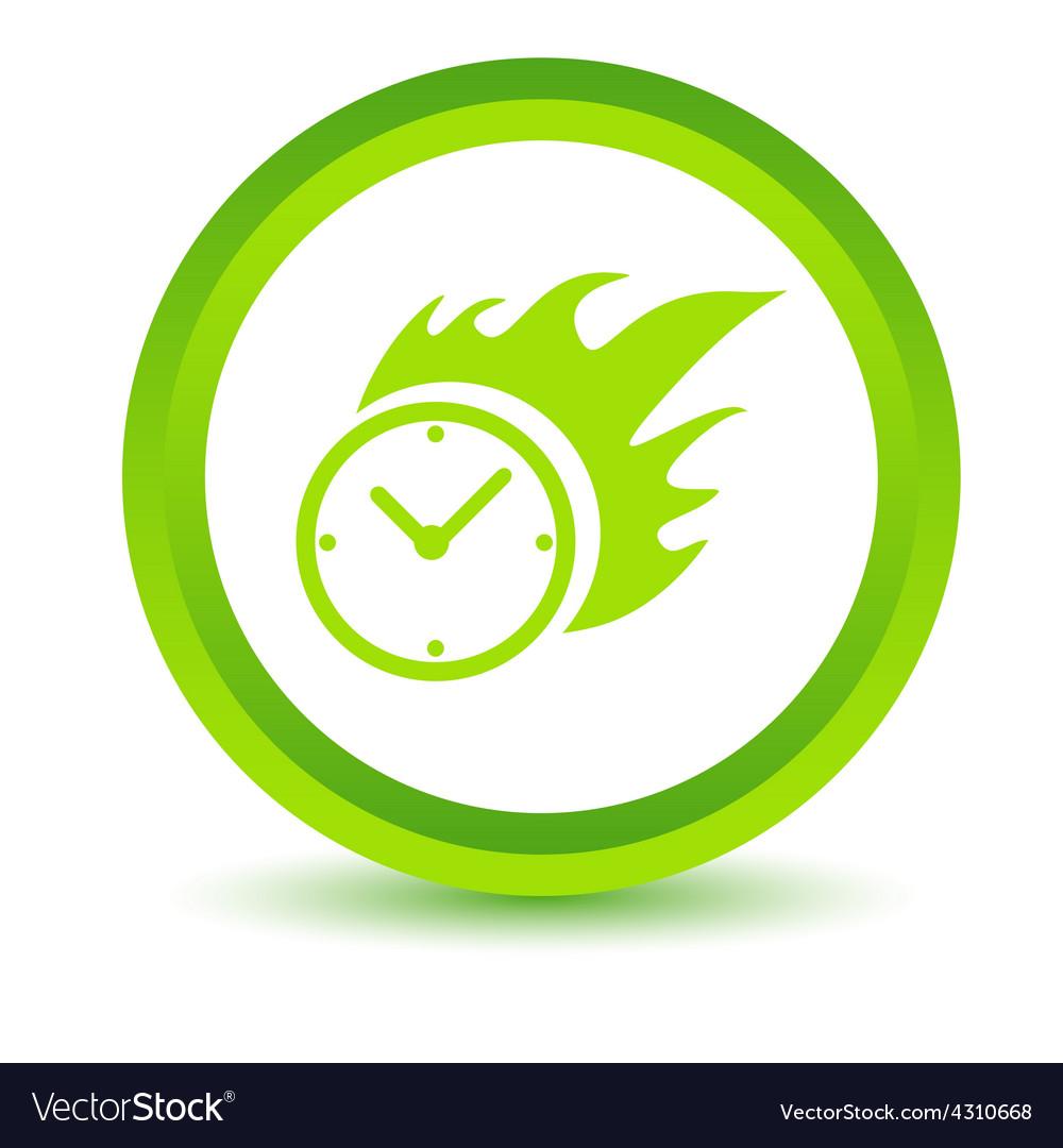 Green hot clock icon vector | Price: 1 Credit (USD $1)