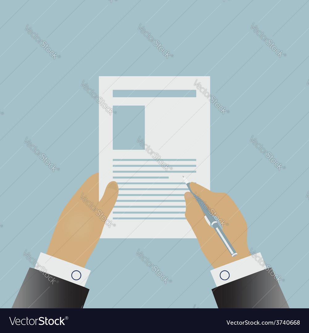 Hand signing a contract vector | Price: 1 Credit (USD $1)