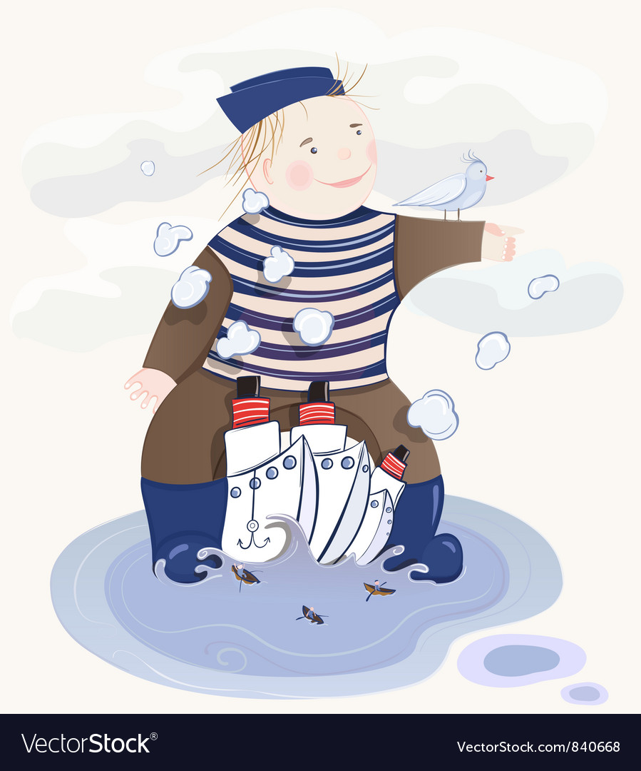 Little sailor boy vector | Price: 3 Credit (USD $3)
