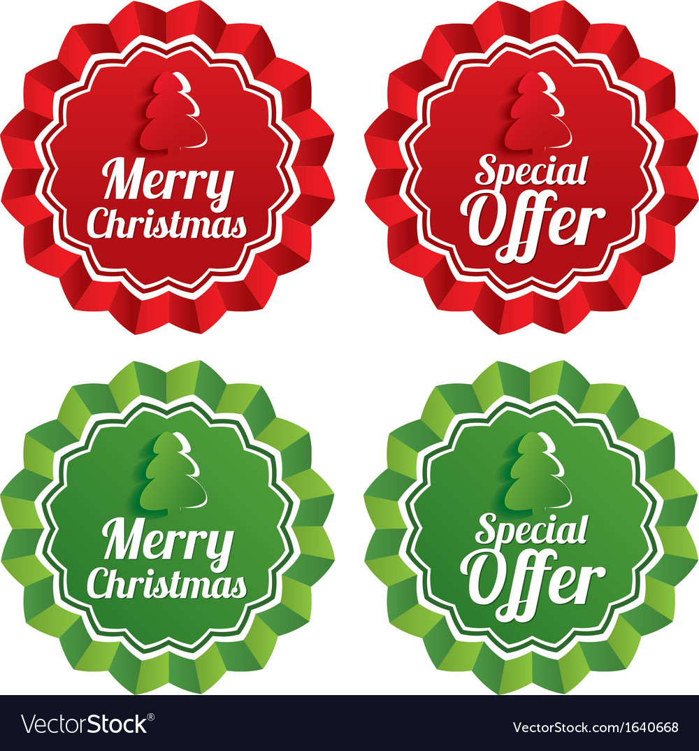 Merry christmas special offer price tags set vector | Price: 1 Credit (USD $1)