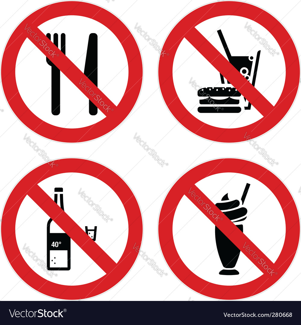 No eating and drinking signs vector | Price: 1 Credit (USD $1)