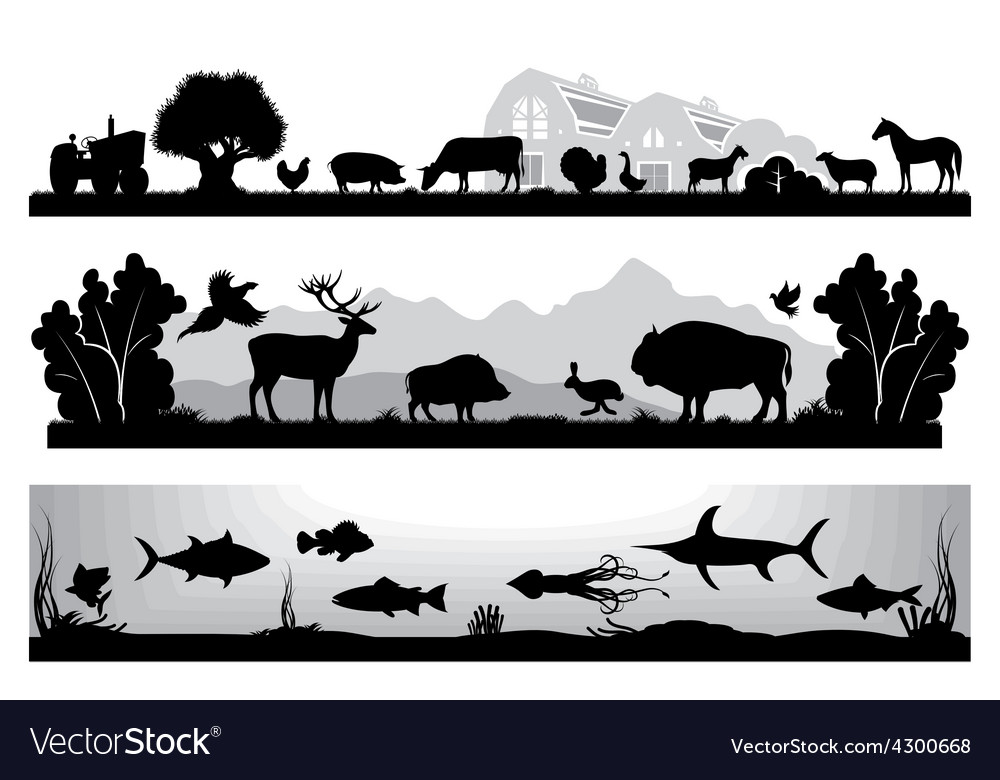 Set of black and white landscapes wildlife farm vector | Price: 1 Credit (USD $1)