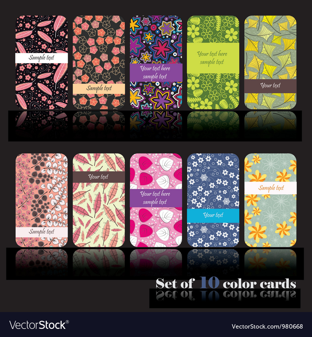 Set of ten floral cards vector | Price: 1 Credit (USD $1)