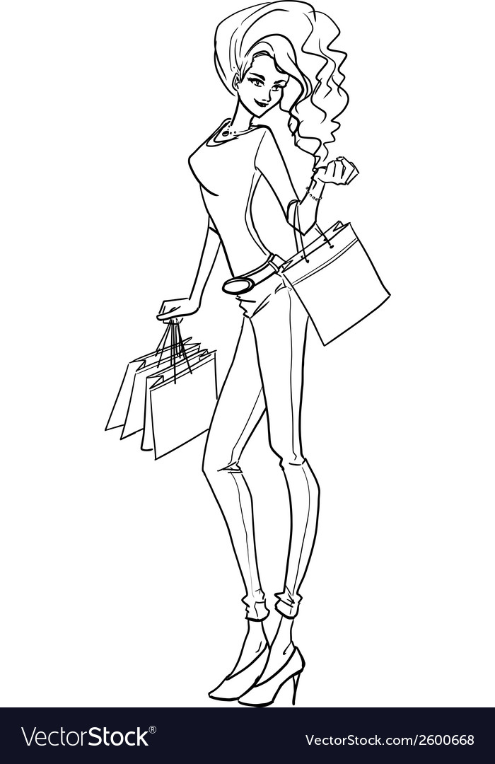 Sexy elegant woman with bags after shopping vector | Price: 1 Credit (USD $1)