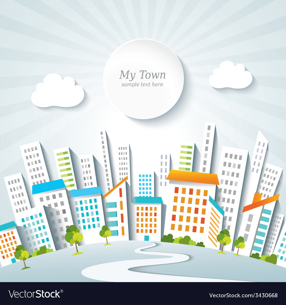 Urban lifestyle town panorama vector | Price: 1 Credit (USD $1)