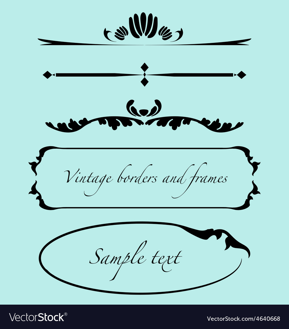 Vintage frames borders text dividers vector | Price: 1 Credit (USD $1)