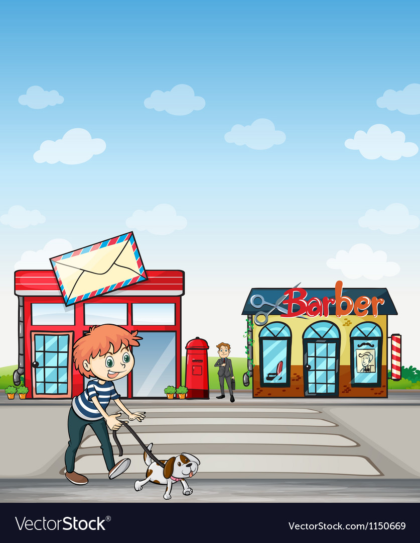 A boy walking with his dog vector | Price: 1 Credit (USD $1)