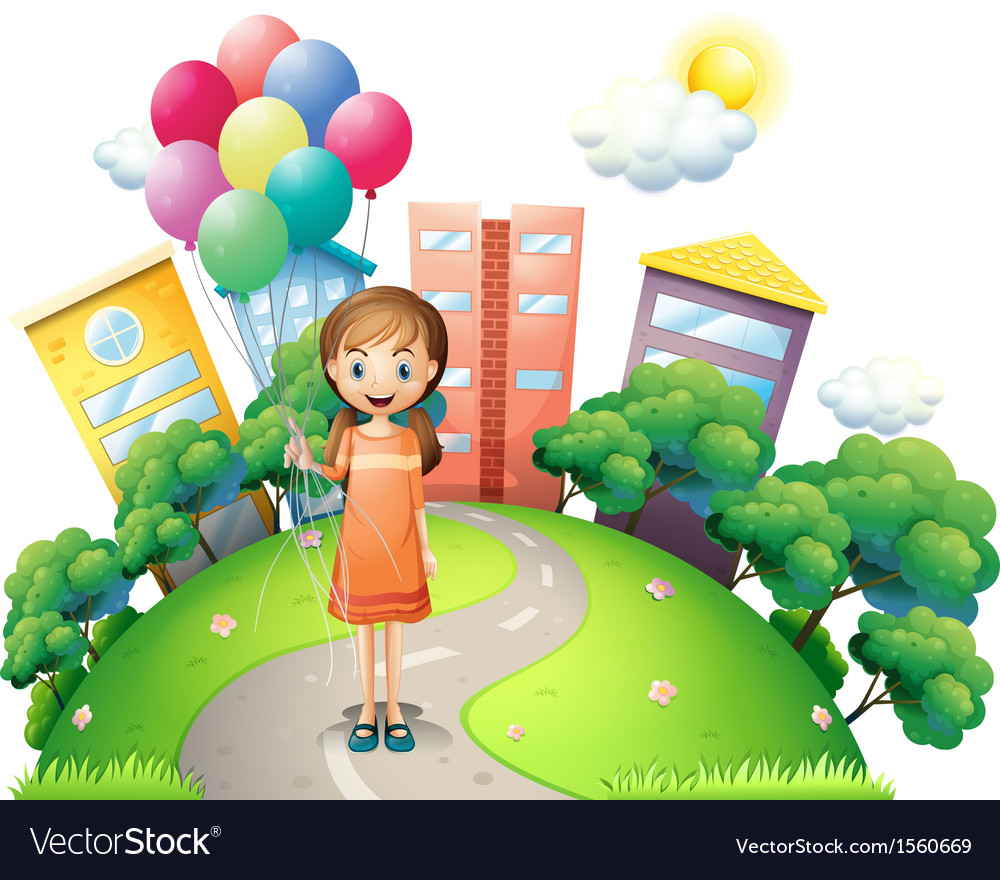 A young lady in the middle of the road with vector | Price: 3 Credit (USD $3)