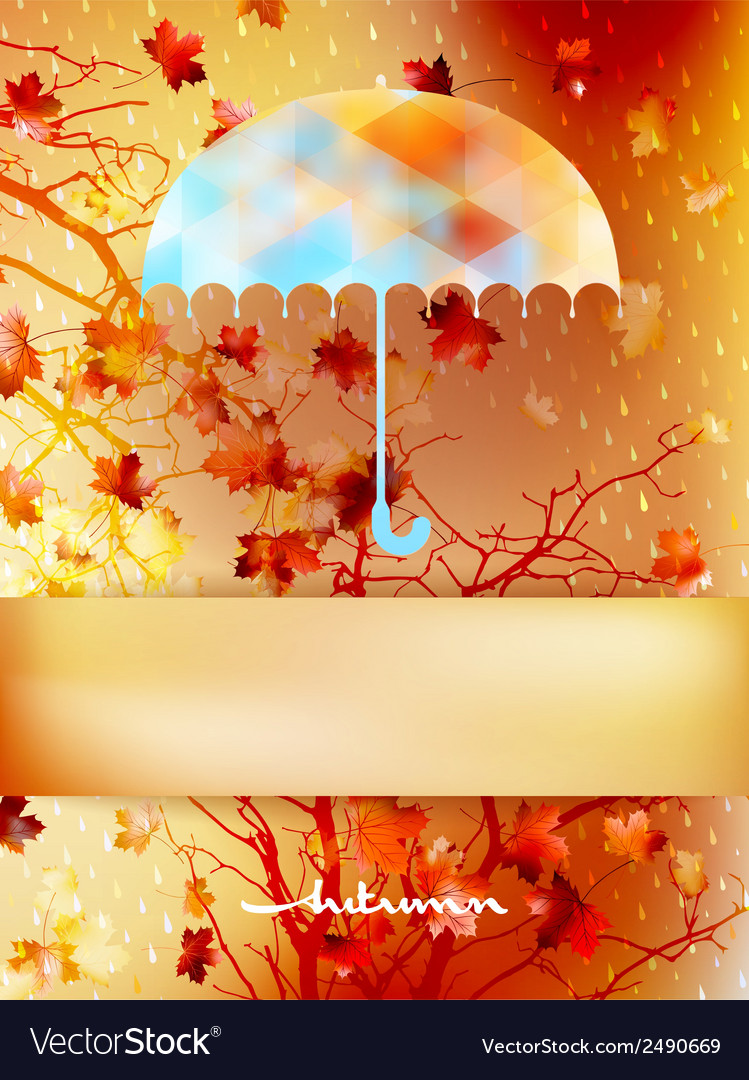 Autumn background with umbrella and leaves eps 10 vector | Price: 1 Credit (USD $1)