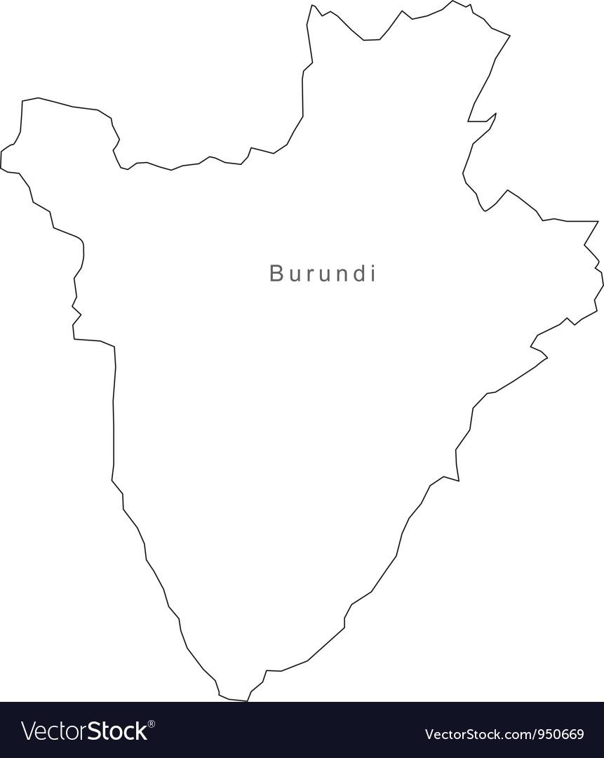 Black white burundi outline map vector | Price: 1 Credit (USD $1)