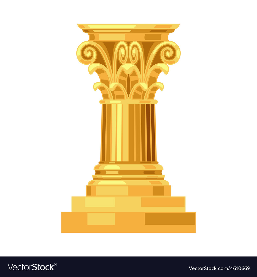 Corinthian realistic antique greek gold column vector | Price: 1 Credit (USD $1)