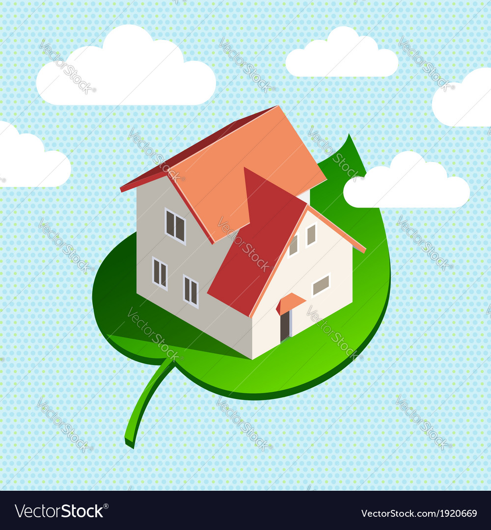 Eco house sky vector | Price: 1 Credit (USD $1)