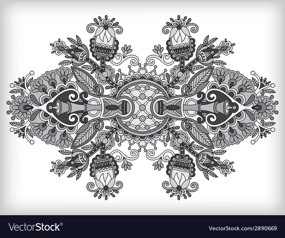 Grey ornamental floral adornment vector | Price: 1 Credit (USD $1)