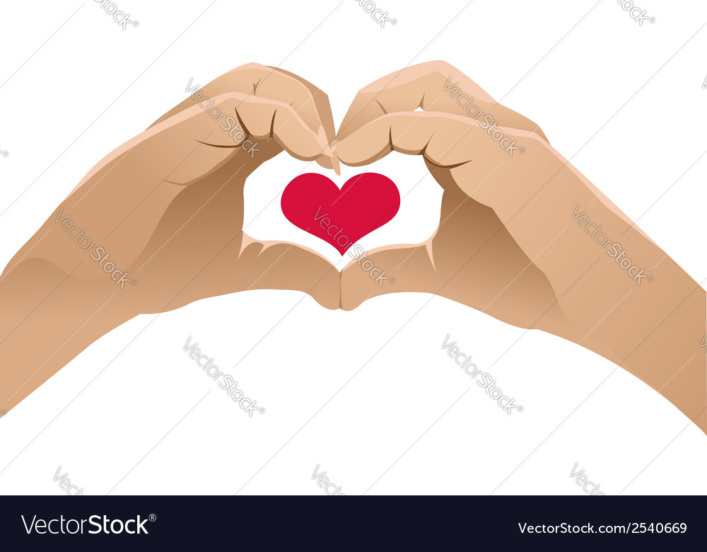 Hands shows heart symbol vector | Price: 1 Credit (USD $1)