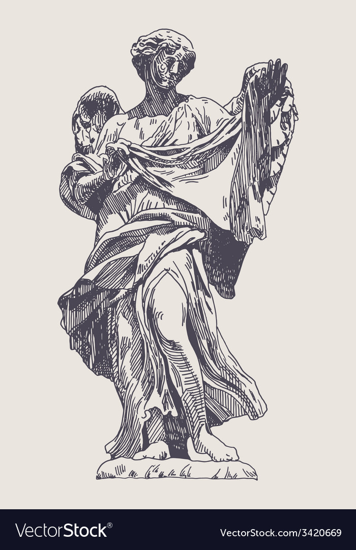 Ink drawing marble statue of angel vector | Price: 1 Credit (USD $1)
