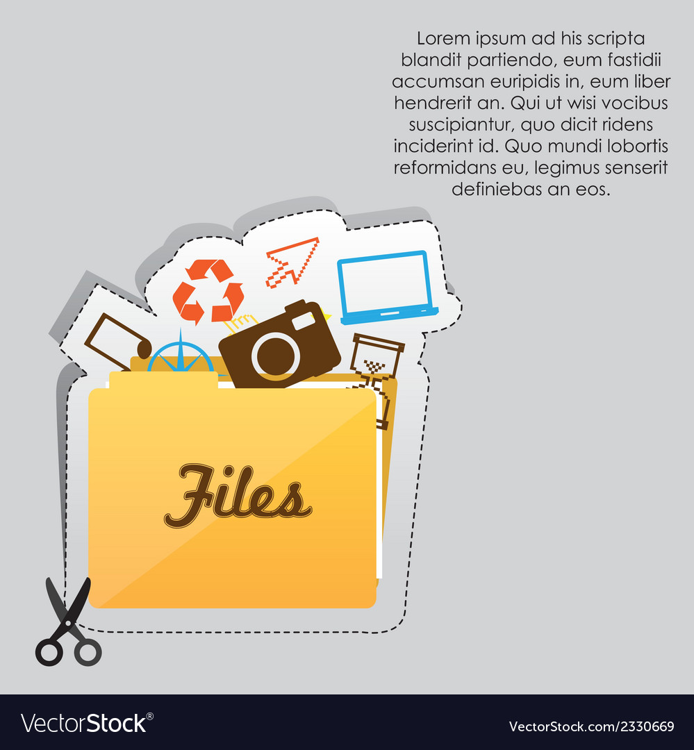 Label with cut lines and an icon of files folder vector | Price: 1 Credit (USD $1)
