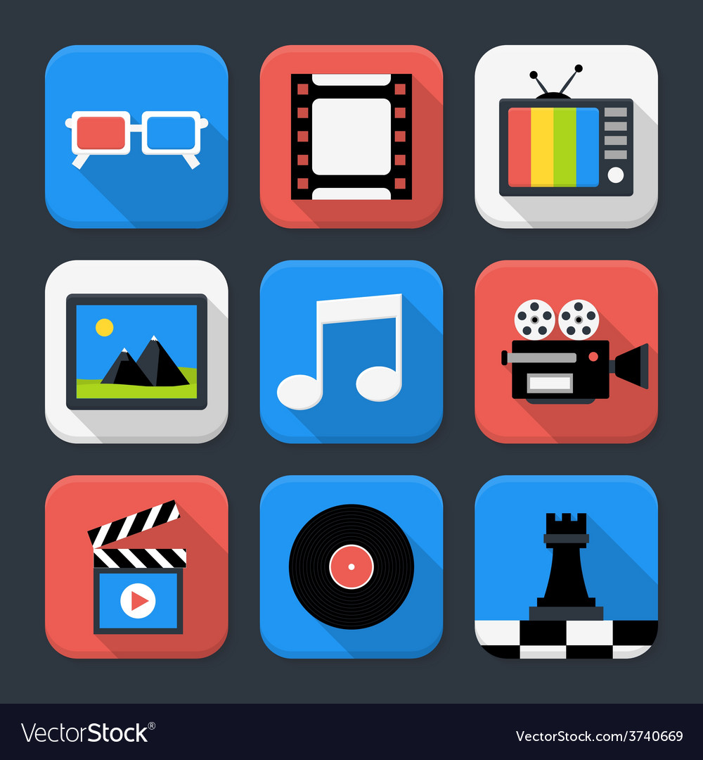 Multimedia video and audio themed squared app icon vector | Price: 1 Credit (USD $1)