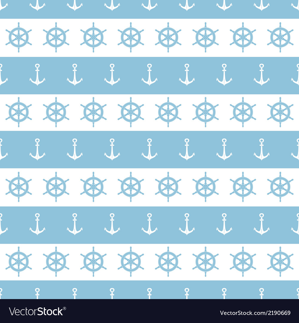 Nautical stripes anchors and wheels seamless vector | Price: 1 Credit (USD $1)