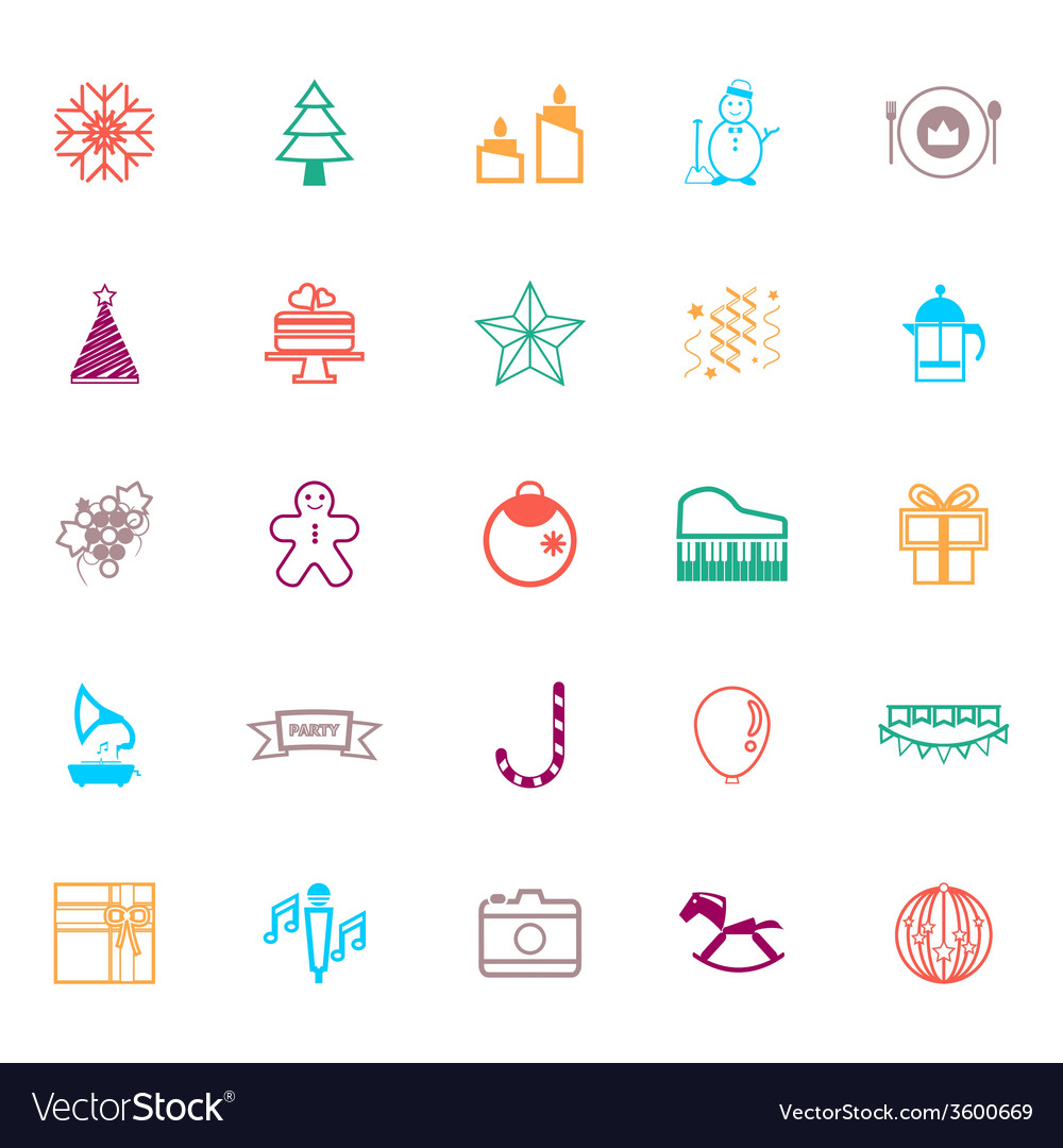 New year and christmas line icons flat color vector | Price: 1 Credit (USD $1)