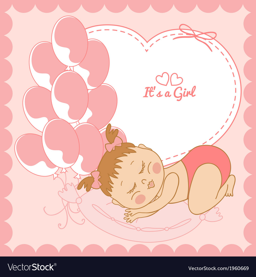 Sleeping baby girl in pink frame vector | Price: 1 Credit (USD $1)