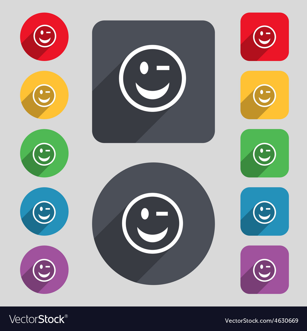 Winking face icon sign a set of 12 colored buttons vector | Price: 1 Credit (USD $1)