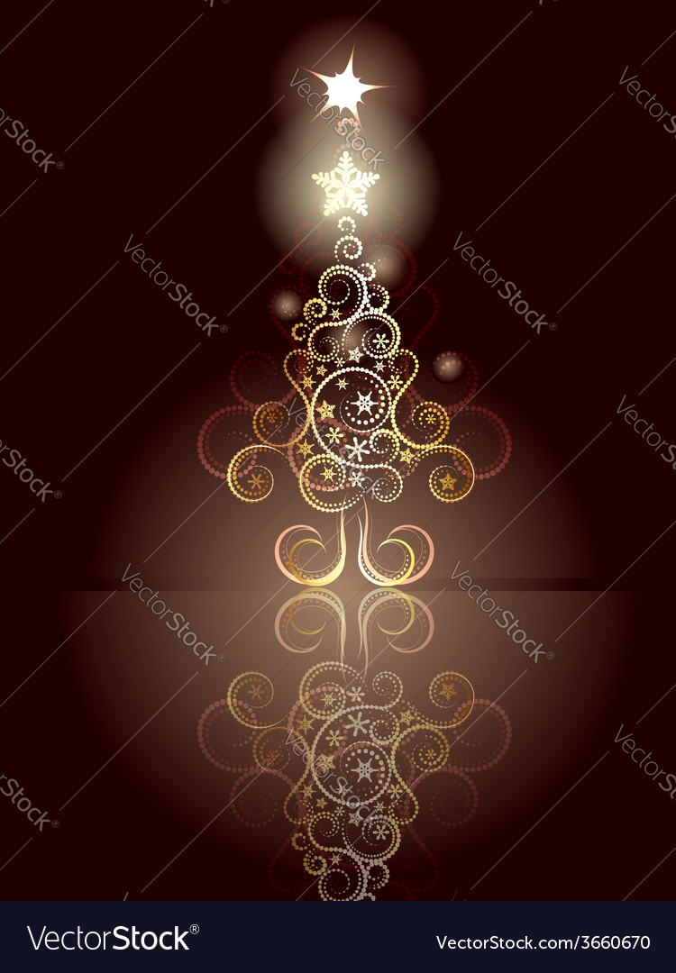 Card with decorative christmas tree4 vector | Price: 1 Credit (USD $1)