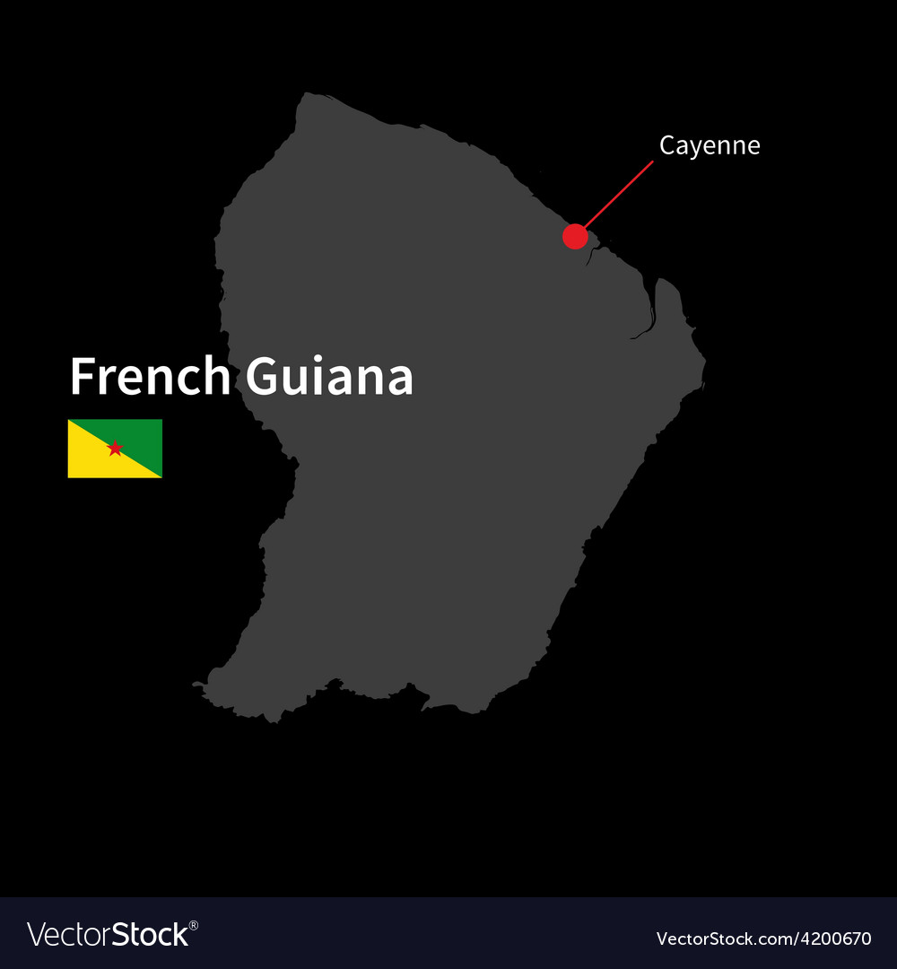 Detailed map of french guiana and capital city vector | Price: 1 Credit (USD $1)