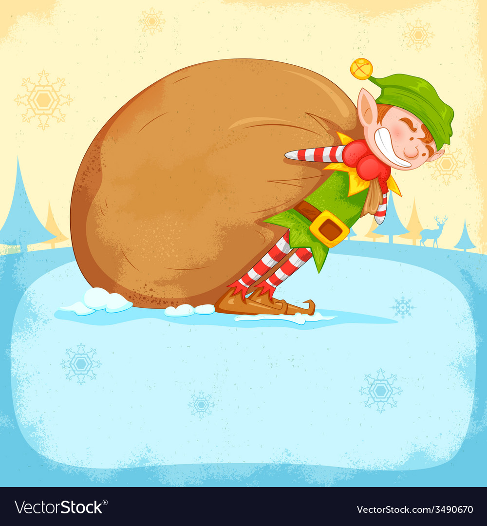 Elf dragging sack full of christmas gifts vector | Price: 1 Credit (USD $1)