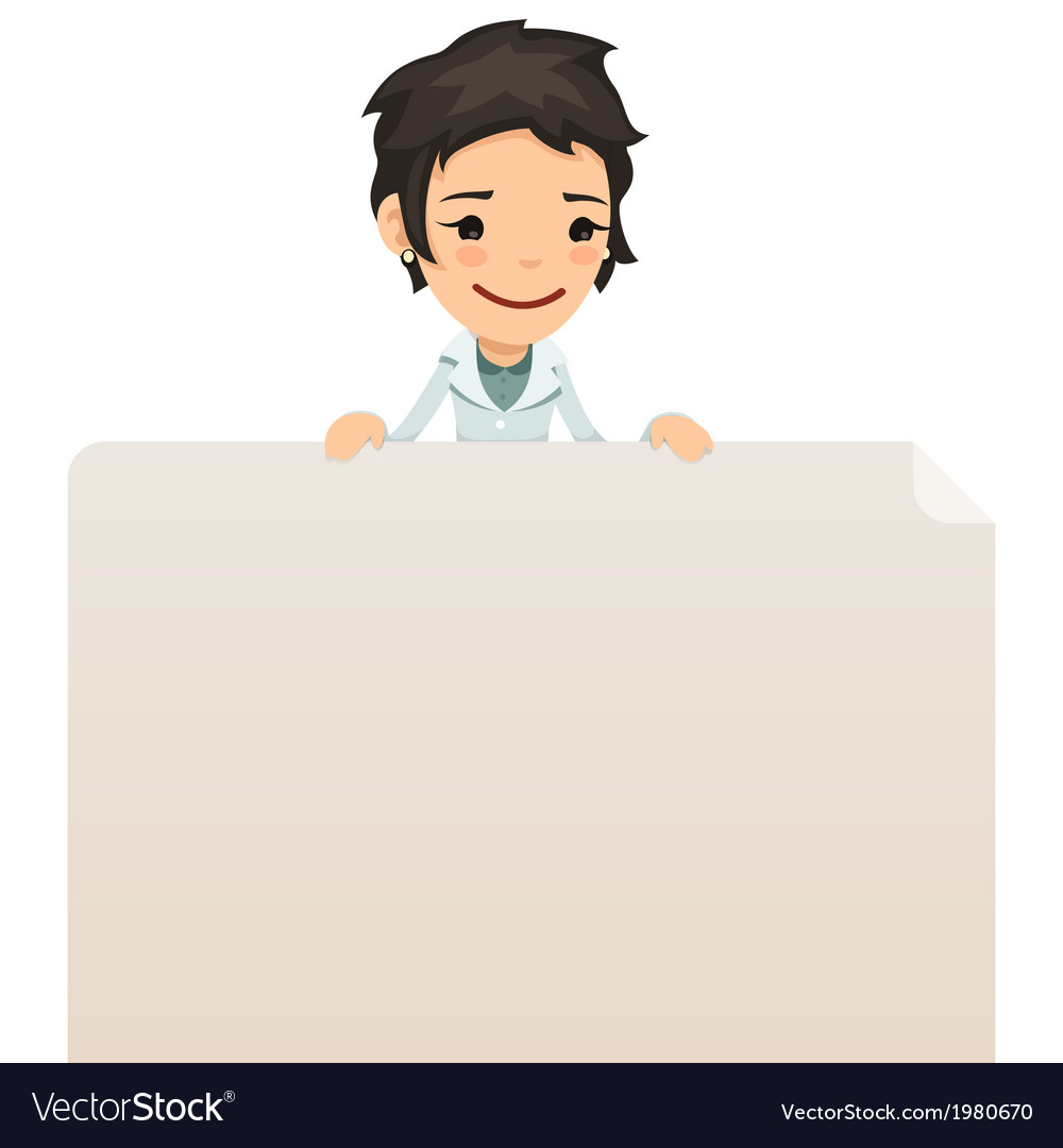 Female doctor looking at blank poster on top vector | Price: 1 Credit (USD $1)