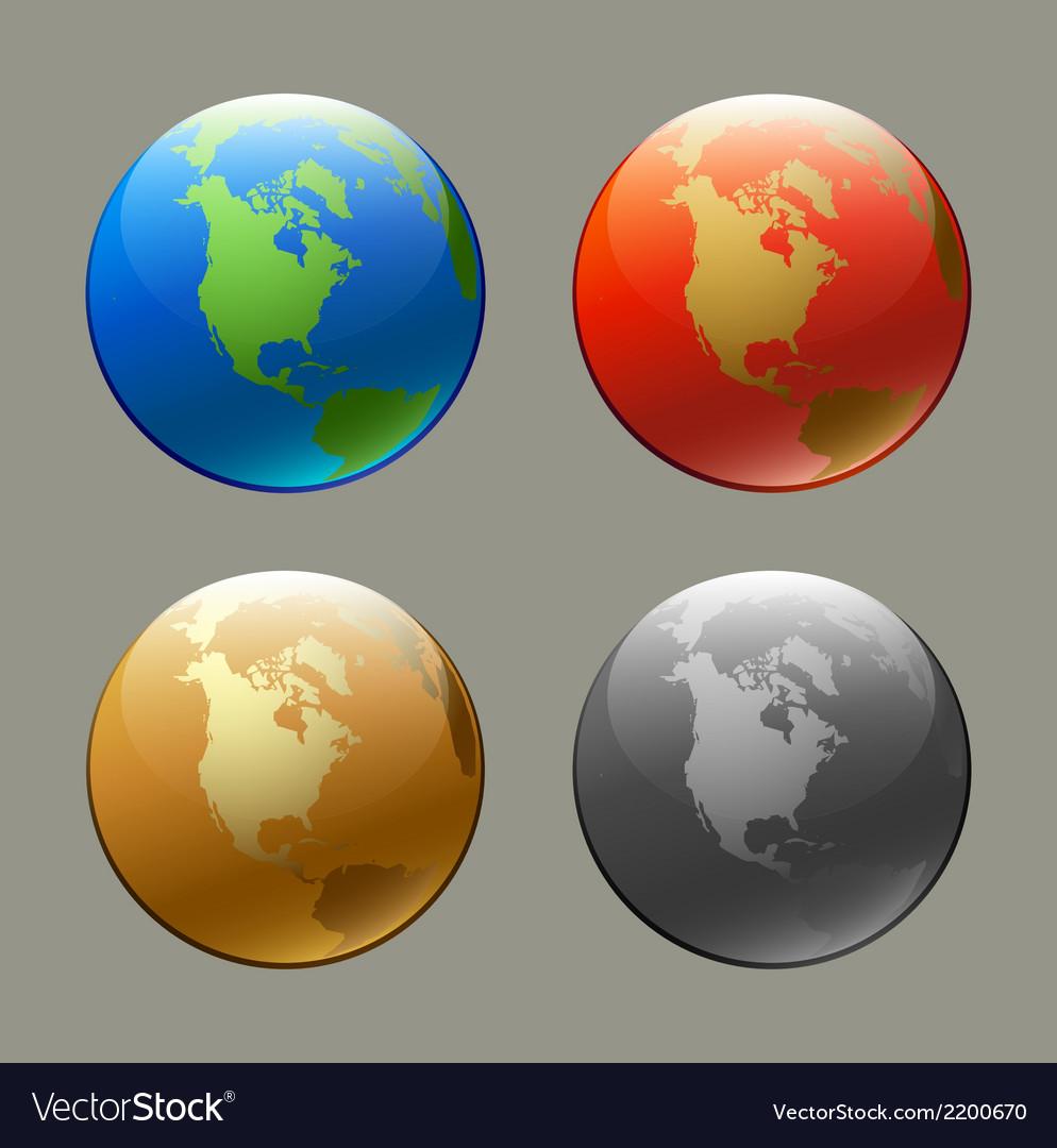Globe set vector | Price: 1 Credit (USD $1)