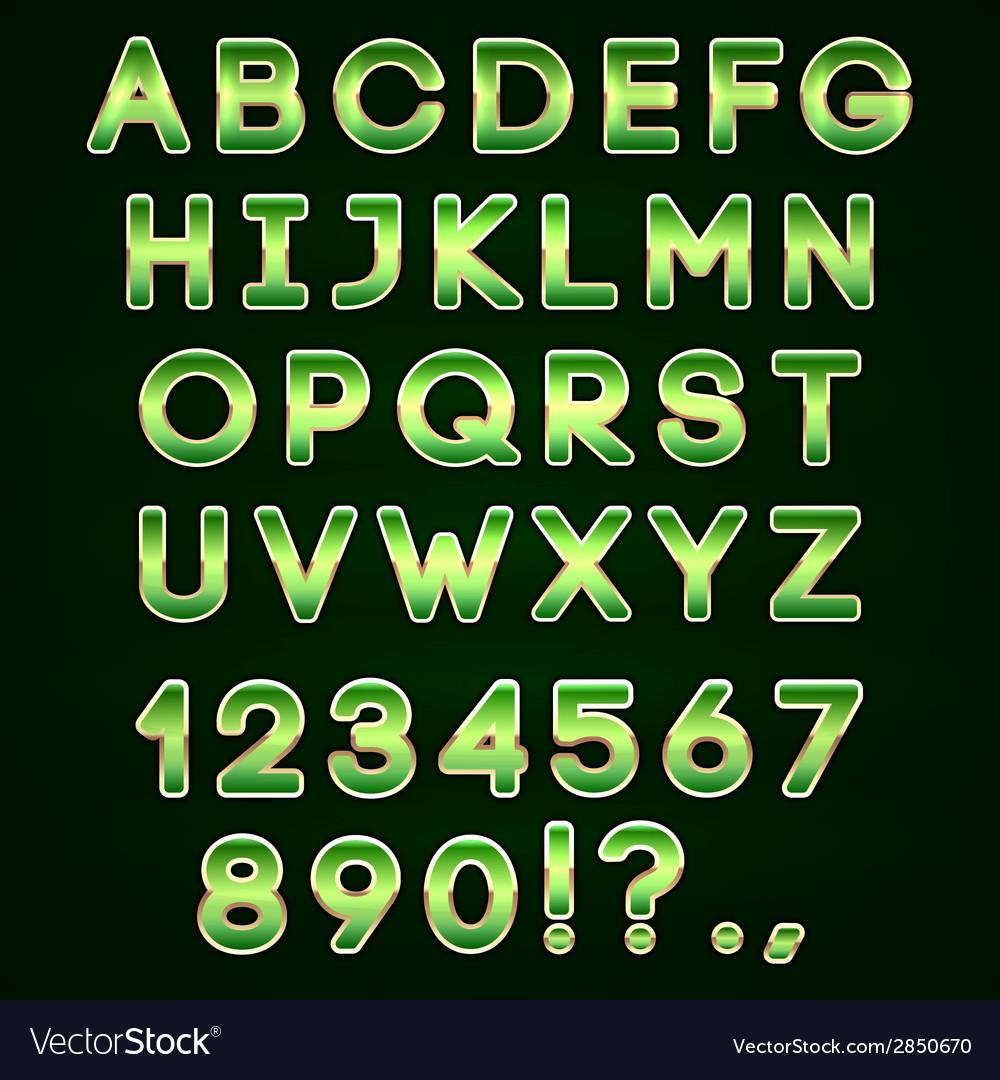 Golden and green neon alphabet on dark background vector   Price: 1 Credit (USD $1)