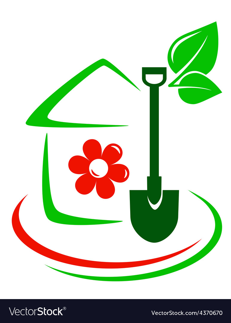 Green garden icon with house flower and shovel vector | Price: 1 Credit (USD $1)