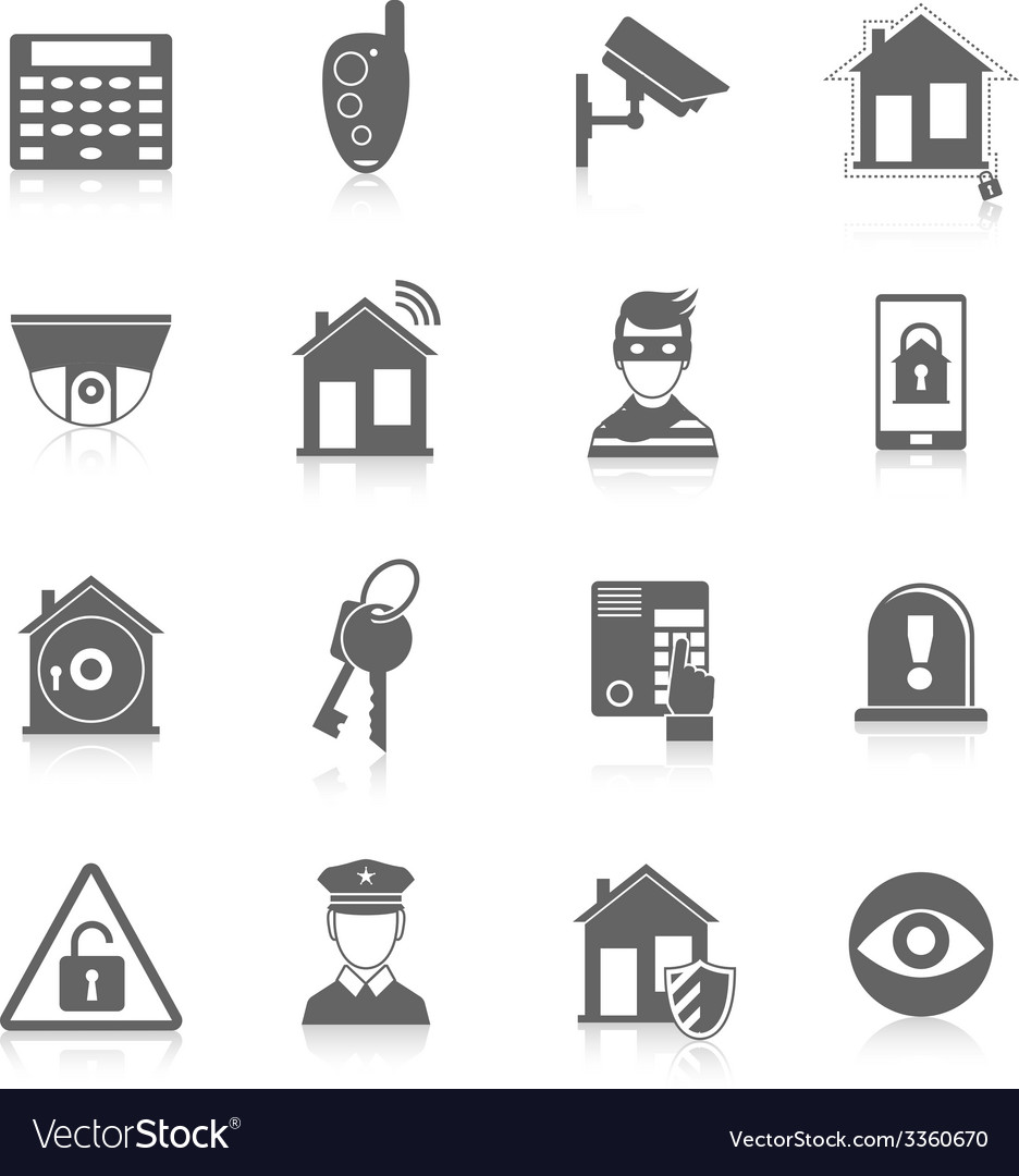 Home security icons vector | Price: 1 Credit (USD $1)