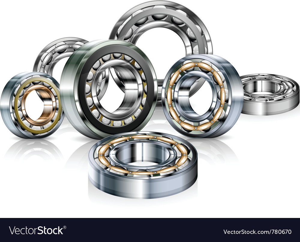 Metal roller bearings on white vector | Price: 3 Credit (USD $3)