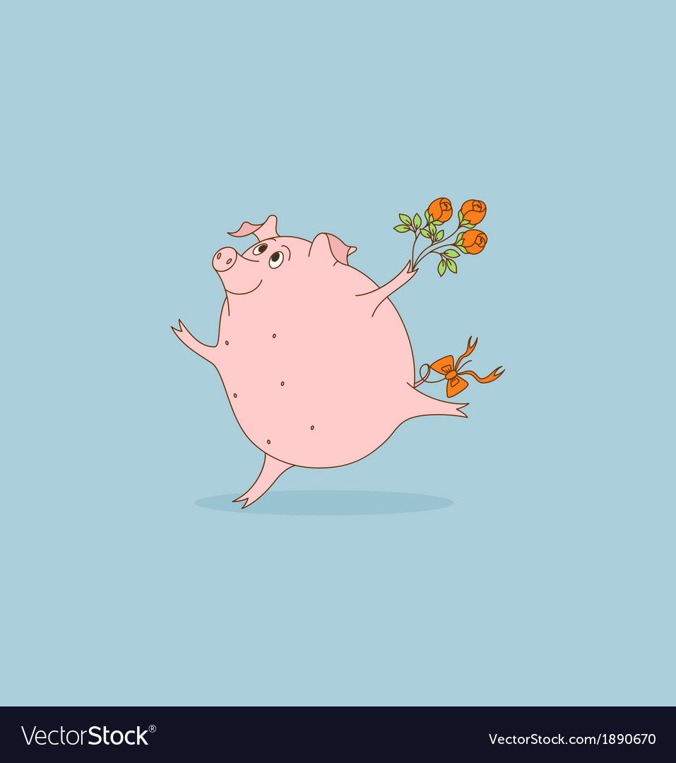 Pig with flowers vector   Price: 1 Credit (USD $1)
